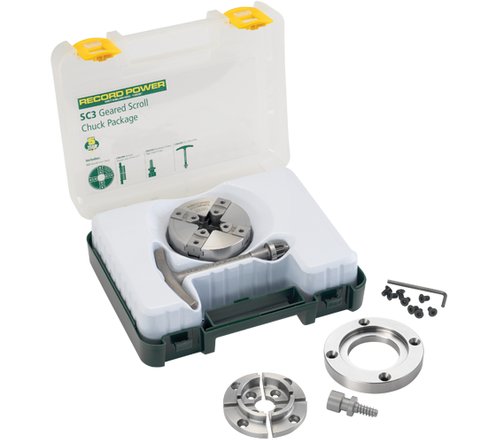 61062 SC3 Geared Scroll Chuck Package with 3