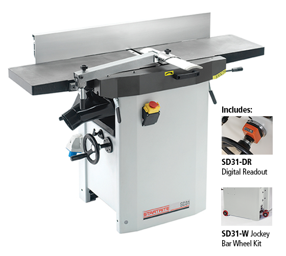 SD31/UK1-PK/A Heavy Duty Cast Iron Planer Thicknesser 230v, With Digital Readout and Wheel Kit